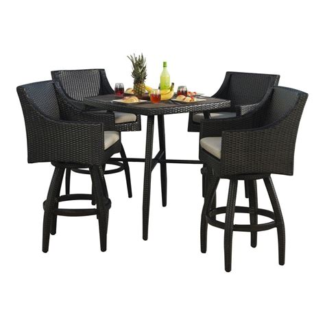 RST Brands Deco 5 Piece All Weather Wicker Patio Bar