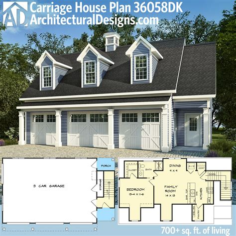 carriage house apartment floor plans plan 36058dk 3 car carriage house plan with 3 dormers