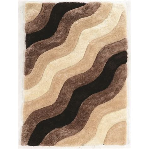 5 X 7 Tufted Wave Shag Rug In Brown Rug Lk1357