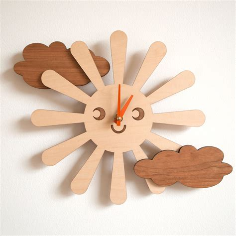 the gallery for gt cool wooden clocks wooden happy sun clock kids nursery clock sun by