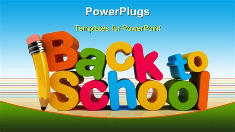 Powerpoint Template Colorful Letters Form Text Back To School With Pencil 2625 Back To School Powerpoint Template