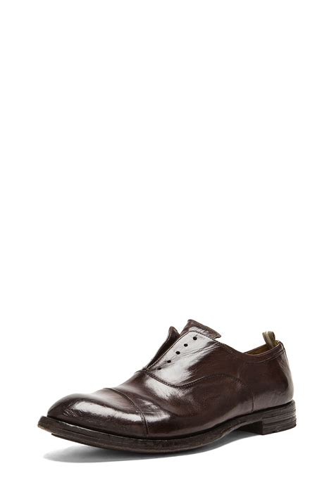 officine creative laceless leather dress shoes in brown