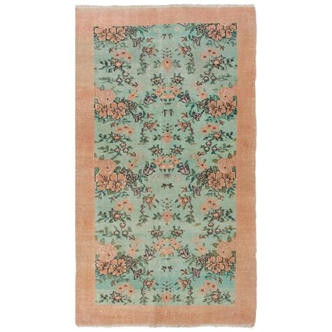 mint colored rug floral turkish deco rug in soft pink and mint green colors for sale at 1stdibs