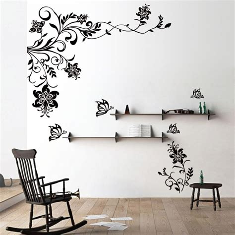 living room wall decal wall mural decal stickers butterfly flowers tree home