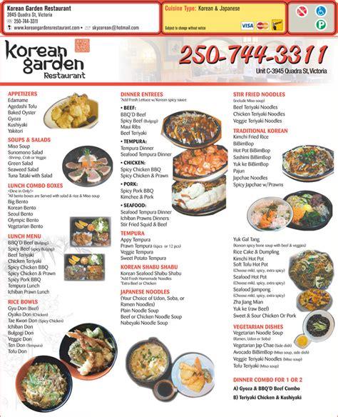 Korean Garden Menu by Korean Garden Restaurant Bc B 3945 Quadra St