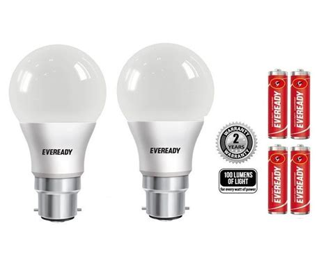 Eveready Led Light Bulbs Eveready 9w 100 Lumens Pack Of 2 Led Bulb With Free Battery Buy Eveready 9w 100 Lumens Pack Of