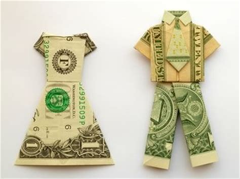 Money Origami Dress - fold a dollar bill into a money origami shirt and tie with