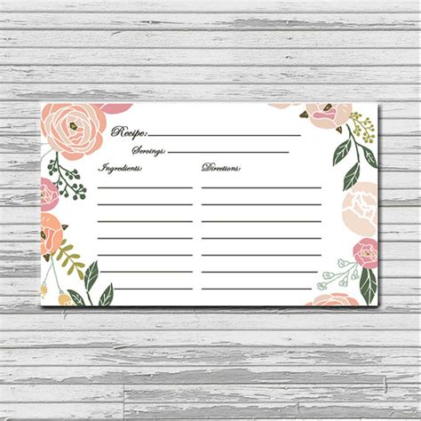free printable 3x5 recipe cards items similar to soft pastel flower recipe card 3x5