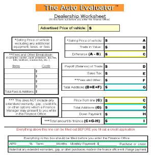 Used Car Checklists Car Sales Worksheet Template