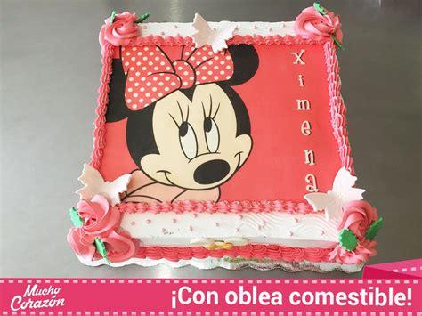 pastel decorado bonito muy bonito pastel de mimi o minnie mouse con oblea