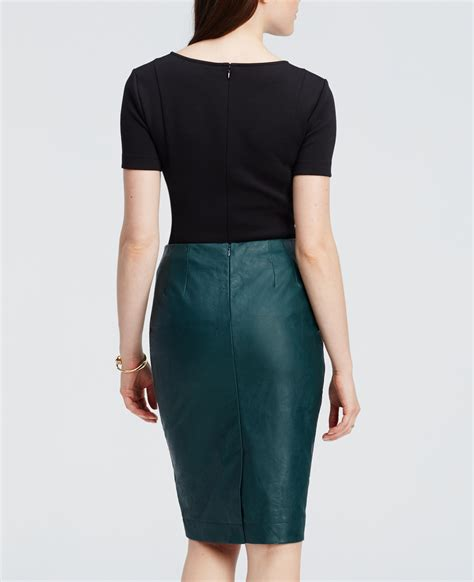 faux leather pencil skirt in green lyst