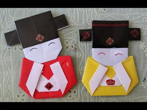 Easy Japanese Origami - easy origami craft how to make a japanese doll bookmark