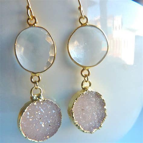 how to make bezel jewelry druzy drusy quartz clear quartz 18 k gold bezel dangle