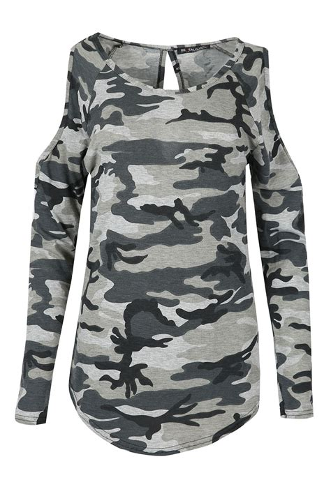 Clothes My Back 132008 by Womens Army Camo Cold Shoulder Jersey Keyhole Back