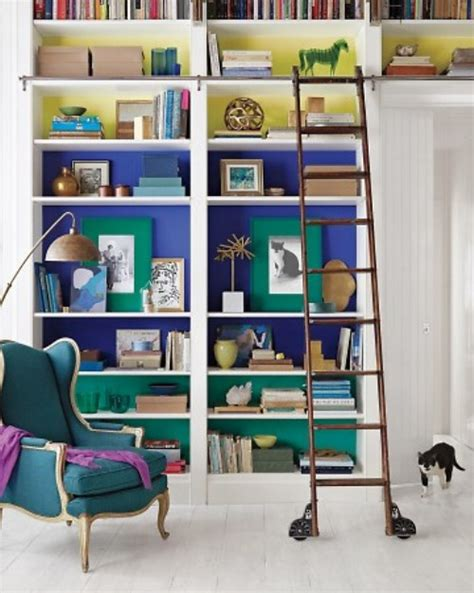 color blocked bookcase in contemporary library