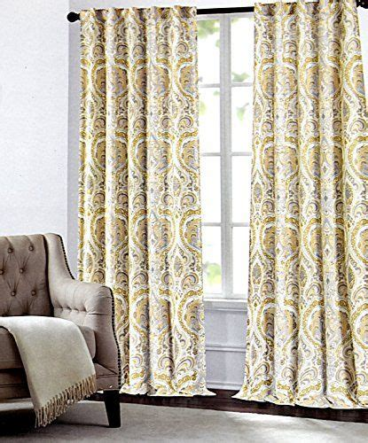 grey and mustard curtains tahari home camden paisley scrolls window panels 52 by 96