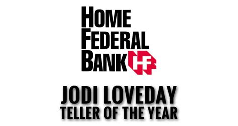 home federal bank names jodi loveday teller of the year
