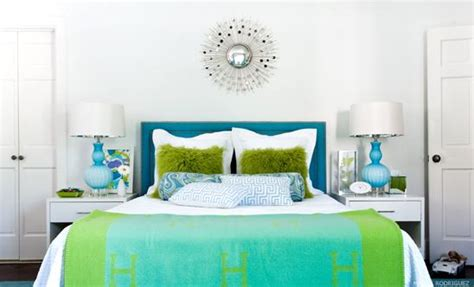 blue and green bedroom turquoise headboard contemporary girl s room