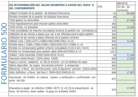 pago de ganancias anual formulario 713 utilidad contable y tributaria para el iue bolivia