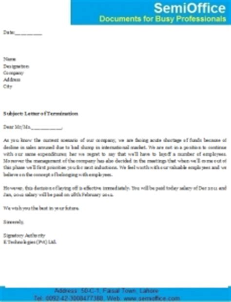 Termination Letter Format Due To Absenteeism Termination Letter Format