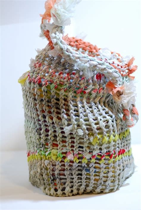 how to knit with plastic bags knit tote from recycled plastic bags upcycling