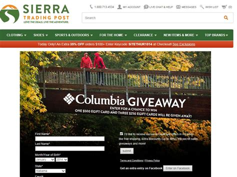 Sweepstakes Canada 2014 - sierra trading post columbia sportswear sweepstakes sweepstakes fanatics