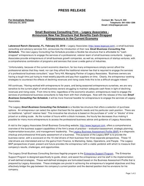 Press Release New Consulting Fee Schedule For Entrepreneurs Press Release Schedule Template