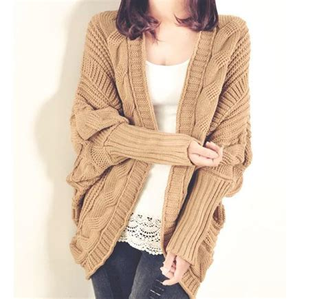 Sweater Rajut Khaki cardigan thick cape batwing sleeve knit casual