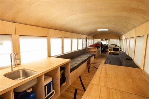 old school bus conversions interior bus conversions student completes amazing minimalist school bus conversion