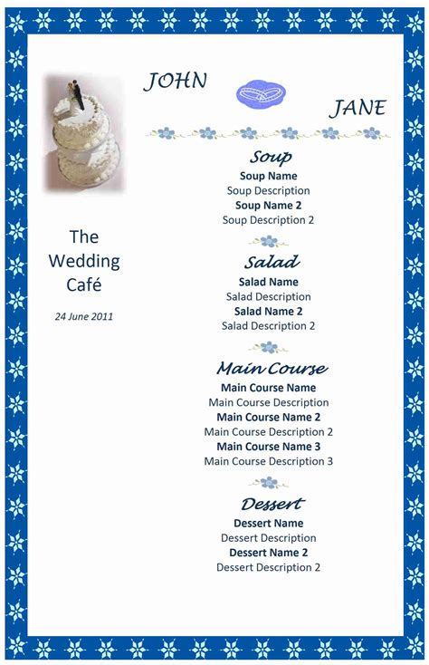 menu templates free for word wedding menu