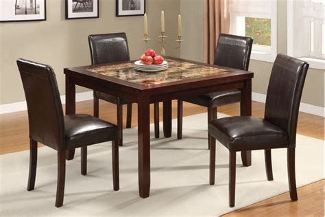 ignativs brown faux marble top 5pc pack dining table set
