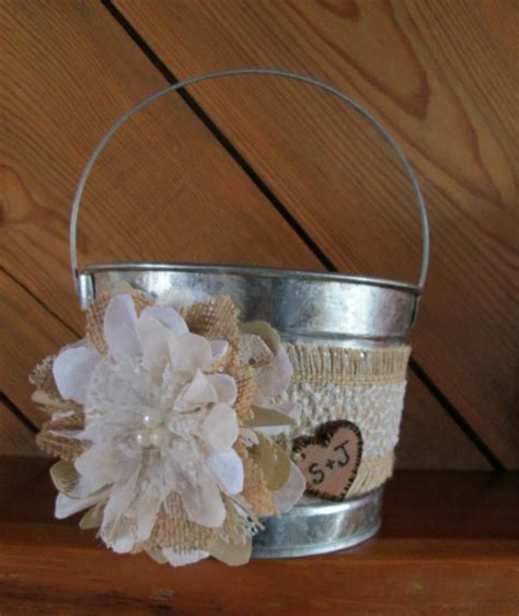 Flower Wedding Baskets by Personalized Flower Burlap And Lace Wedding
