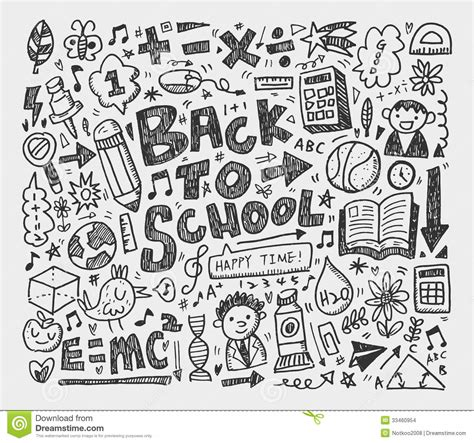 doodle school draw doodle school element stock images image 33460954