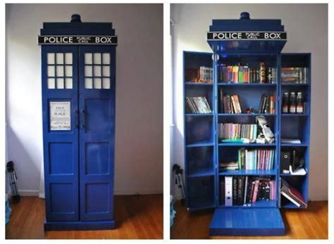 doctor who inspired tardis bookshelf geektyrant