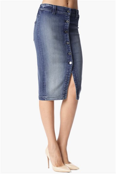 Seven For All Mankind Still Topping Most Wanted List by Button Front Pencil Skirt In Absolute Heritage 5 7 For