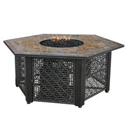 Uniflame Firepit Uniflame 21 In Slate Tile Hexagon Propane Gas Pit In Bronze Gad1374sp The Home Depot