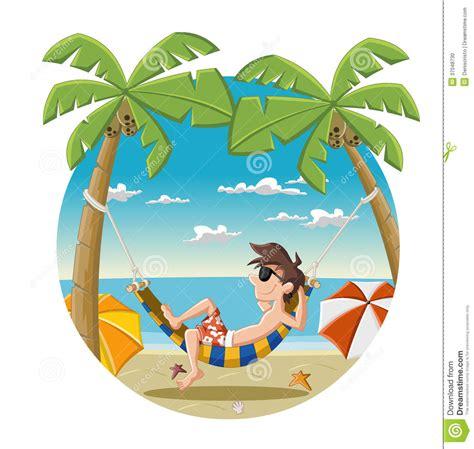 Cartoon man on beautiful tropical beach stock photo image 37048730