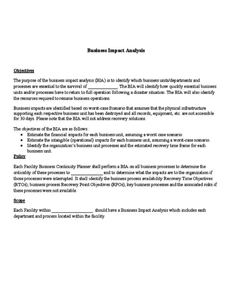 recovery point objective template impact assessment template