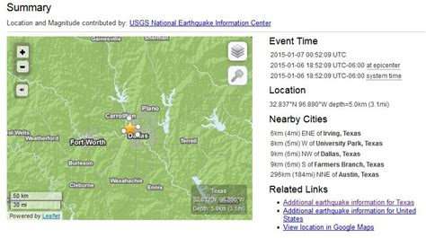 earthquake map texas texas earthquakes one 1 6 2014 at usgs jpg