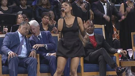 ariana grande performs  aretha franklins funeral