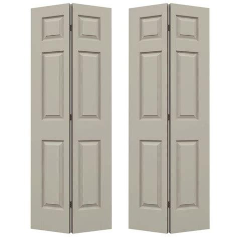 bi fold doors interior closet doors doors the home jeld wen 72 in x 80 in colonist desert sand painted