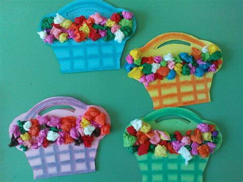 Paper Flower Craft For Preschoolers - tissue paper flower baskets family crafts