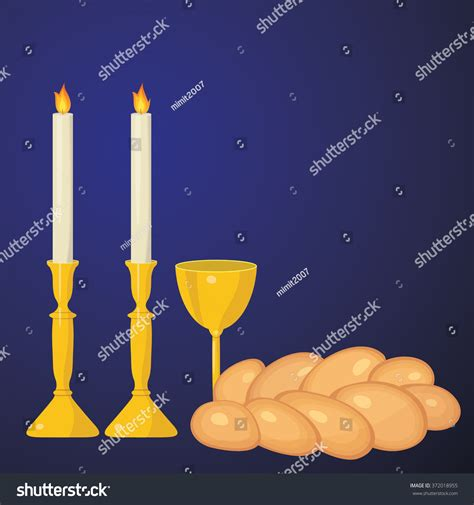 shabbat candles kiddush cup and challah stock vector