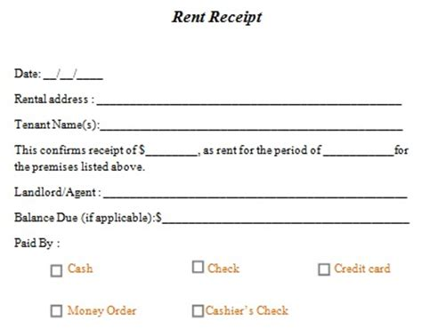 Template For Receipt Of Rent Payment by Rent Receipt Template 10 Free Word Excel Templates