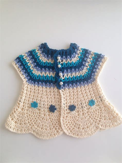crochet sweater pattern 2 year old crochet cream blue pure cotton baby girl sweater with