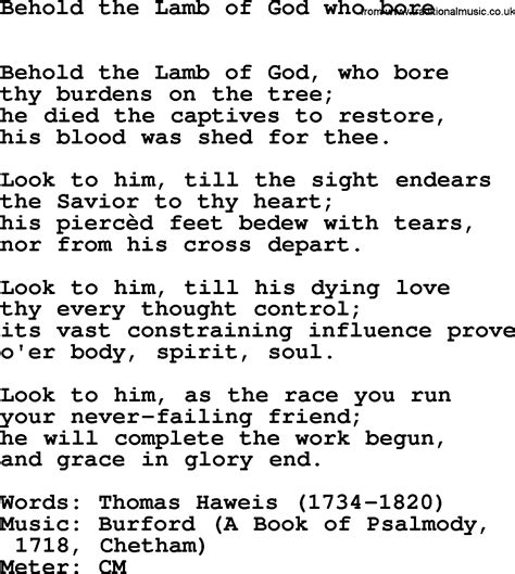 Pdf In The Of The Beheld by Lent Hymns Song Behold The Of God Who Bore Lyrics