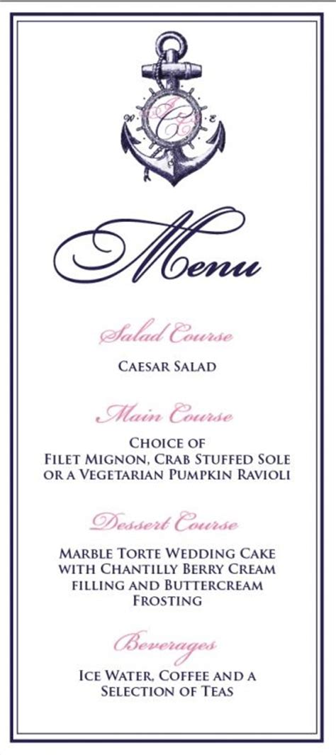 posh parties our wedding menu