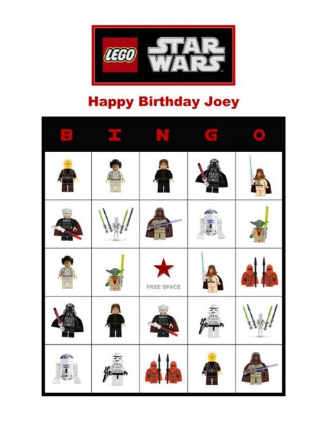 printable lego star wars bingo cards personalized lego star wars birthday party game bingo