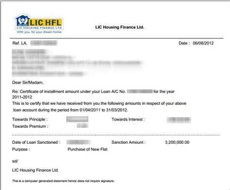 Lic Housing Finance Letter Format Lichfl Generating Home Loan Statements
