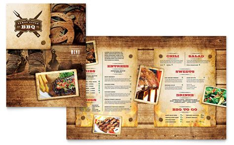 Steakhouse Bbq Restaurant Menu Template Design Bbq Menu Template